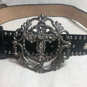 Accessories - Genuine Leather Belt with Embellished Cross Buckle